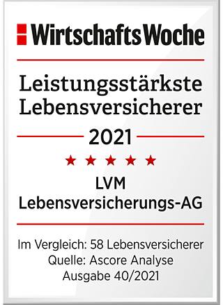 Die WirtschaftsWoche (45/2014) hat die LVM Lebensversicherungs-AG wiederholt als einen der  leistungsstärksten deutschen Lebensversicherer ausgezeichnet.