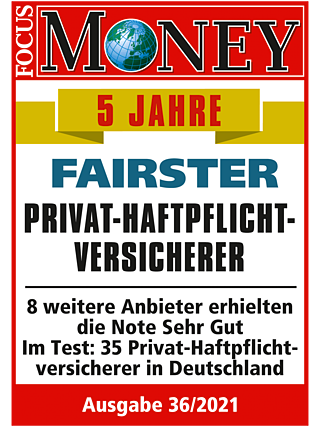 Faire Privathaftpflicht: Sehr gut laut FOCUS-MONEY