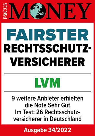 Laut FOCUS-MONEY: Fairer Rechtsschutz bei der LVM