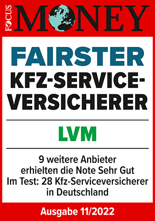 "FOCUS-MONEY: LVM - fairster Kfz-Versicherer. Bestnote ""sehr gut""!"