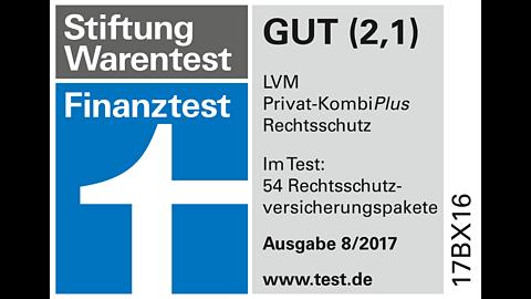 """Finanztest 8/2017: """"gut"""" für LVM-Rechtsschutz"""