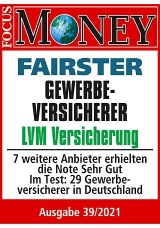 FOCUS-MONEY: LVM ist fairer Gewerbeversicherer