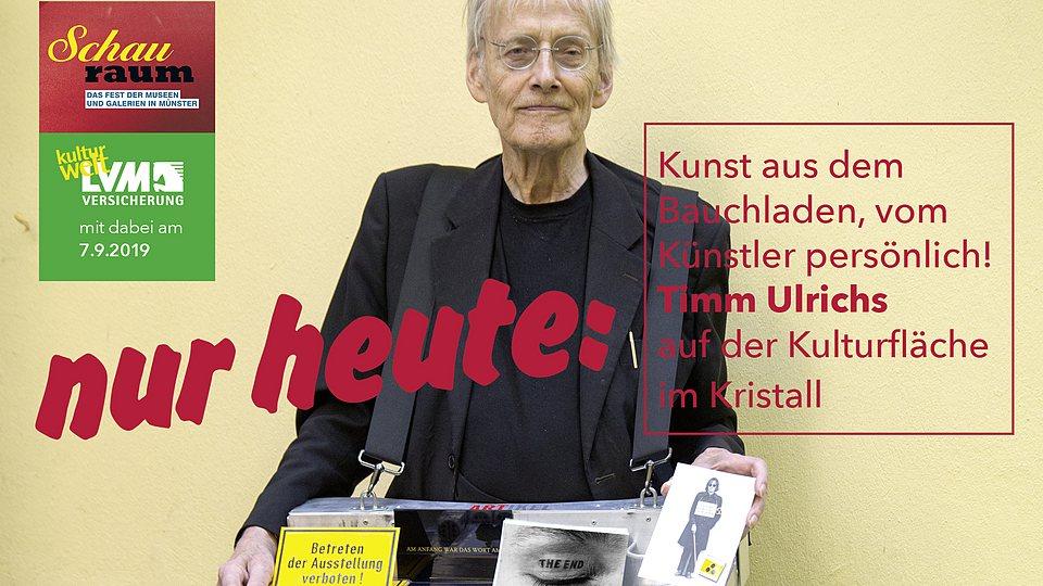Totalkünstler Timm Ulrichs zum Schauraum am 7.9.2019 bei der LVM.