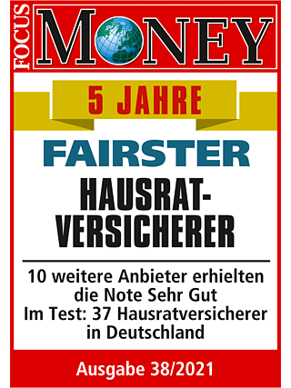Ratinglabel von FOCUS MONEY: LVM fairster Hausratversicherer